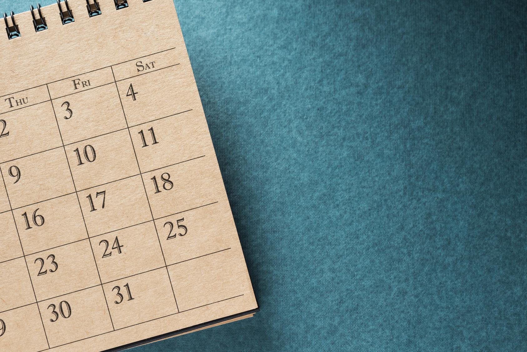 Calendar.On Blank Desk.